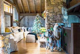 A Timber Frame Home Decorates for the Coziest Christmas