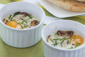 "Springtime Baked Eggs ""en cocotte"" with Asparagus"