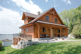 Pine, Stone and Gabled Roof Accent Lake Skugog Home